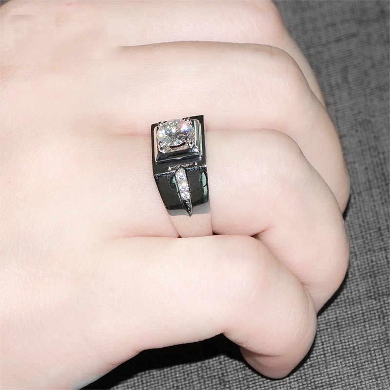 Пасьянс мужское кольцо 925 пробы серебро 0.6ct AAAAA CZ Диамант обручальные ювелирные изделия обручальные кольца для мужчин кольцо на палец