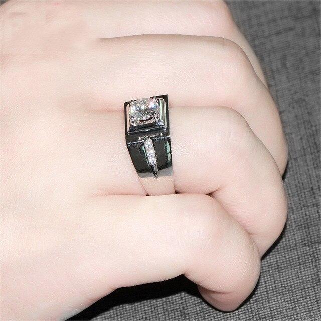 Pasjans męski pierścionek 925 srebro 0.6ct AAAAA cyrkonia biżuteria zaręczynowa obrączki dla mężczyzn ring Finger