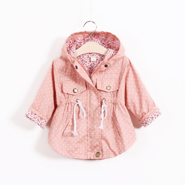 2-6T Spring Jacket Girls Kid Cotton Baby Girls Jacket Polka Dot Print Bat Girls Outerwear & Coats Trench Girls Hoodies Jackets