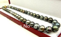 FREE SHIPPING>>>@@ > N1657 1810 12MM NATURAL TAHITIAN MULTIC BLACK PEARL NECKLACE
