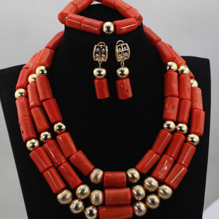 Luxury African Coral Beads Necklace Set Nigerian Wedding Bride Dubai Costume Jewelry Party Free Shipping QW419 цена и фото