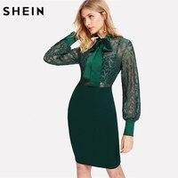שיין שמלות Bodycon נשים ירוקה שרוול ארוך עיפרון גבוה מותן שמלת צוואר עניבת שרוול בישוף פרחוני תחרת מחוך מצויד בנות