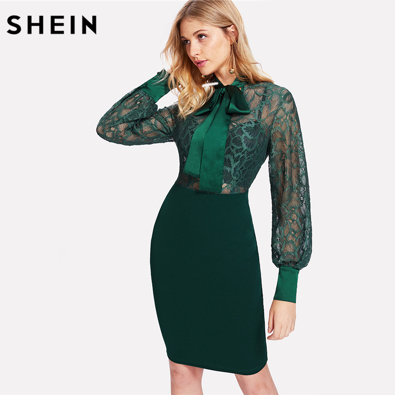 SHEIN Bodycon Dresses Women Green Long Sleeve High Waist Pencil Dress Bishop Sleeve Tie Neck Floral