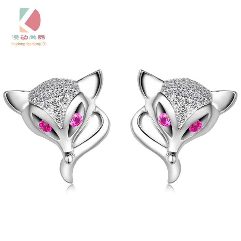 Lingdong модный бренд 2017 925 серебряные серьги Стад маленькая лиса серии серьга креативный подарок Бесплатная доставка