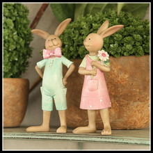 Set of 2, Antique new resin figurine home decor rabbit decorative figurines bunny doll sculpture free shipping