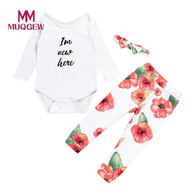 dc121283e050 MUQGEW Baby Clothing 2018 New Newborn 3pcs Toddler Infant Baby Girls ...