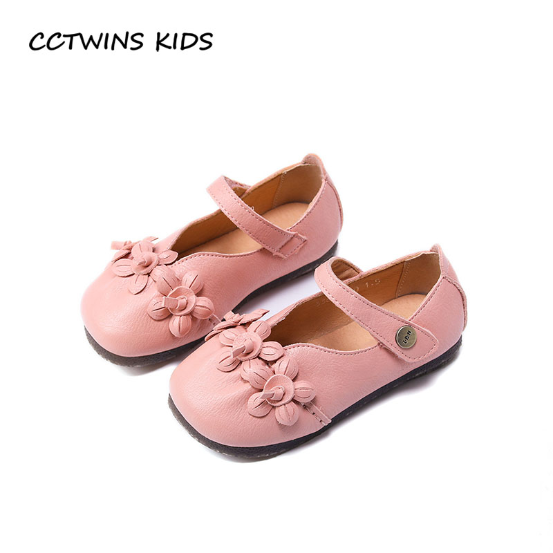 CCTWINS KIDS 2018 Spring Children Flower Party Shoe Baby Girl Brand Pu Leather Mary Jane Toddler Fashion Pink Flat G1652 cctwins kids 2018 spring fashion pink princess butterfly shoe children genuine leather mary jane baby girl party flat gm1942
