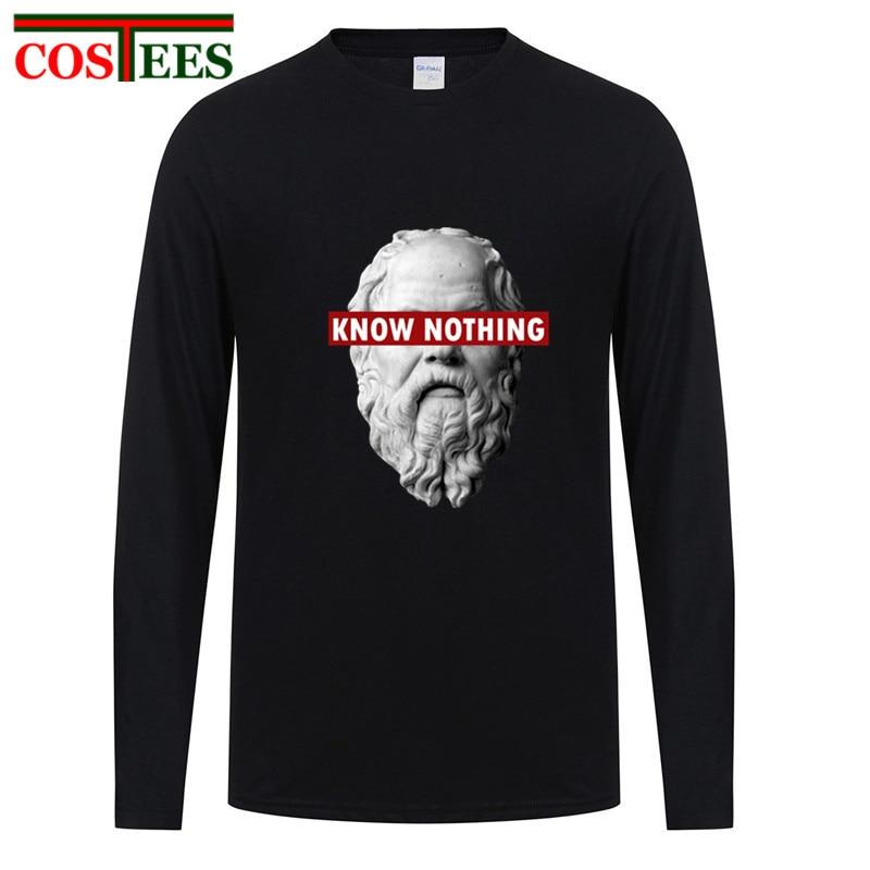 KNOW NOTHING SOCRATES Nature Cotton Fashion Tee MALE long sleeve T-Shirt Mens T Shirt 3d Big Size 6XL alfa romeo juego de tronos