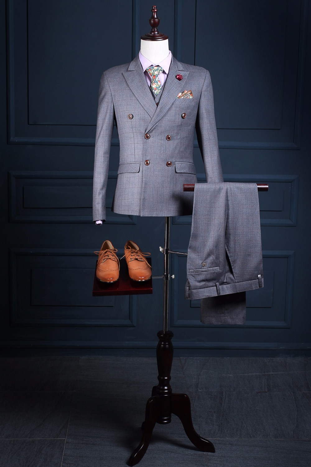Latest Coat Pant Designs Grey Double Breasted Formal Wedding Suits For Men Groom Custom Made Slim Fit 3 Pieces Jacket 330