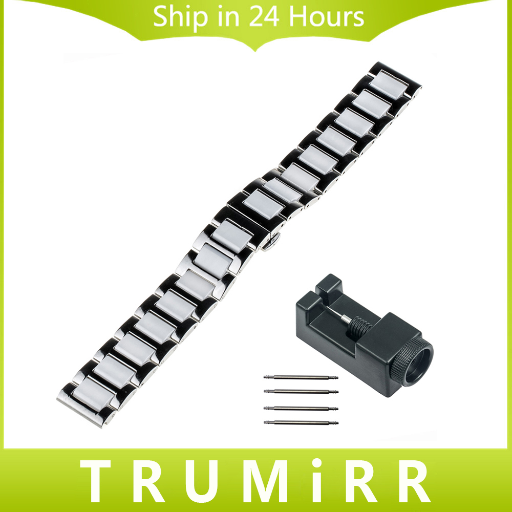 18mm 20mm 22mm Ceramic + Stainless Steel Watch Band for CK (Calvin Klein) Butterfly Clasp Strap Bracelet + Upgraded Link Remover 16mm 18mm 20mm full ceramic watchband for timex weekender expedition watch band wrist strap link bracelet upgraded tool pin
