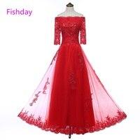 Fishday Chão Boat Neck Longos Vestidos de Noite Elegante Plus Size tamanho Das Senhoras Vermelho Apliques de Lantejoulas Barato Mãe dos vestidos de Noiva B20