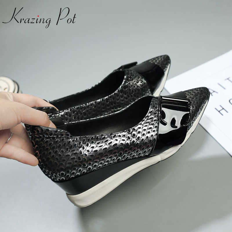 Krazing Pot 2019 sheep leather flat platform wedges pointed toe casual superstar fashion patterns leather vulcanized shoes L6f3Krazing Pot 2019 sheep leather flat platform wedges pointed toe casual superstar fashion patterns leather vulcanized shoes L6f3