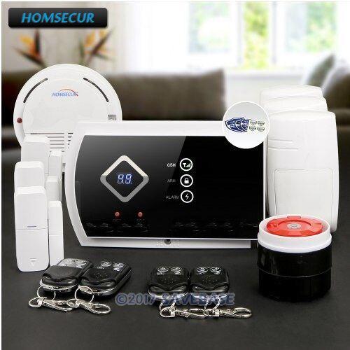 HOMSECUR Wireless GSM SMS Autodial Burglar Intruder font b Alarm b font System with Smoke Sensor