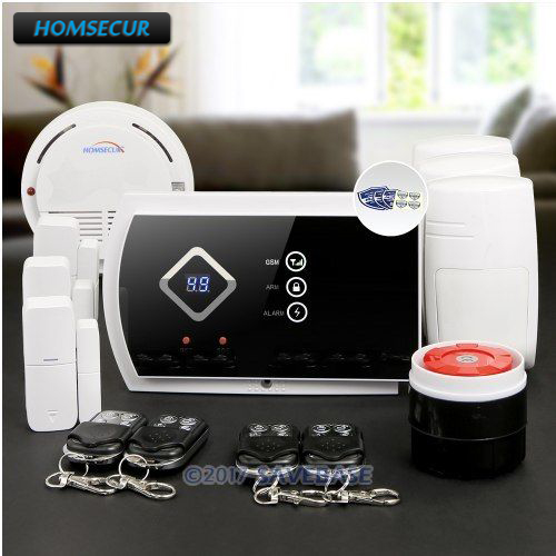 HOMSECUR Wireless GSM SMS Autodial Burglar Intruder Alarm System with Smoke Sensor