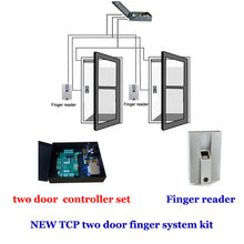 TCP/IP  two door +powercase access controller  kit. include two access Door controller, Finger reader,finger scanner etc.