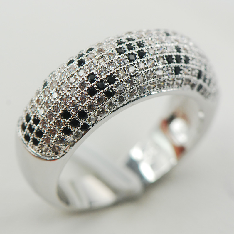 White Black Crystal Zircon 925 Sterling Silver Micropave Ring Size 6 7 8 9 10 A23 equte rssw30c1s7 fashionable titanium steel two zircon women s ring silver white us size 7
