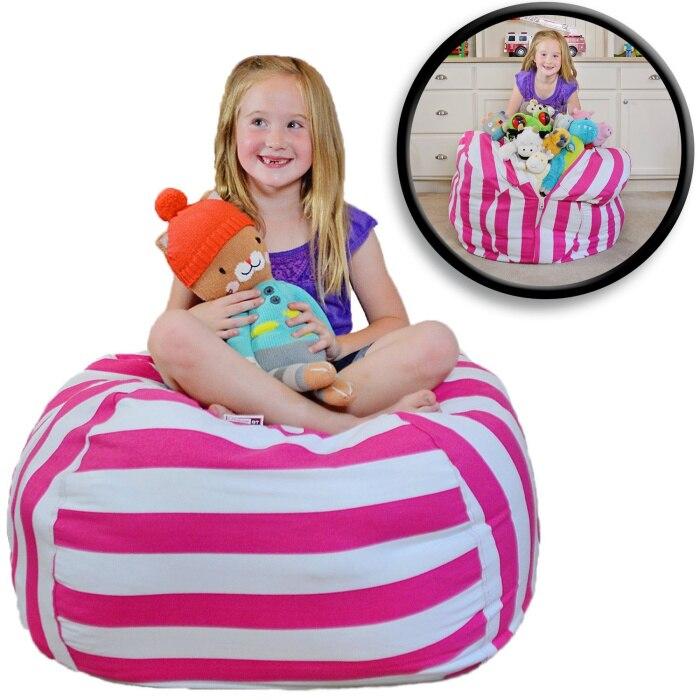 7 цветов набивная коробка животные Кресло-мешок, фасоль | Премиум детское плюшевое решение для хранения игрушек | доступно в 6 моделях - Цвет: rose 24 inches