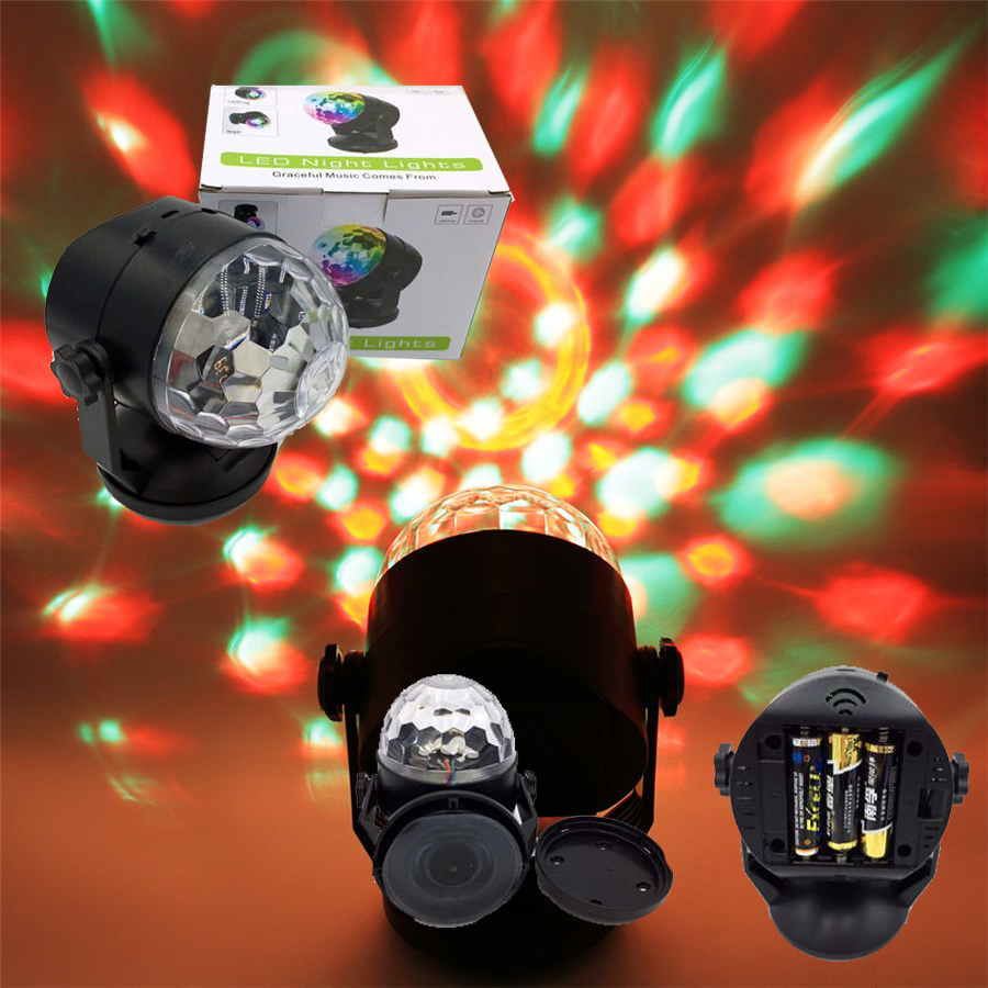 Rasha Sound Control 6W RGB LED Stage Lamps Battery Operated Crystal Magic Ball Laser Projector Disco Stage Effect Light Bar