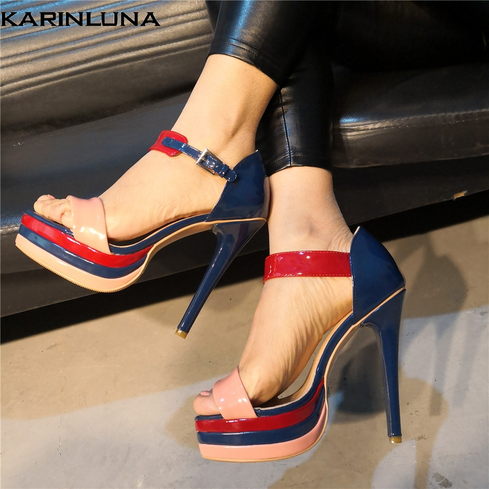 Karinluna Brand Design Big Size 47 Sexy Party Women Shoes Quality Summer Wedding Thin High Heeled Shoes Woman SandalsKarinluna Brand Design Big Size 47 Sexy Party Women Shoes Quality Summer Wedding Thin High Heeled Shoes Woman Sandals