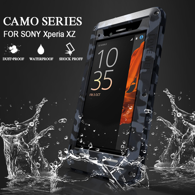 buy online 6b4f7 f0e24 US $35.3 |Waterproof Case for Sony Xperia XZ Case Shockproof Hard Cover for  Xperia XZ Metal Aluminum Protect Case for Sony Xperia XZ Cases-in Fitted ...