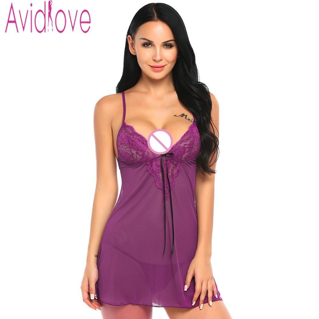 Avidlove Sex Underwear Lingerie Sexy Hot Erotic Babydoll Dress Transparent Sleepwear Women Lace Nightwear Nightgown Porn Clothes