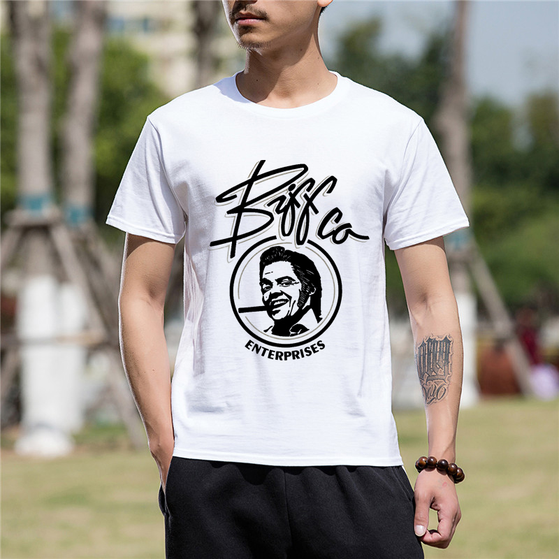 Men Clothes Hot High Quality Cotton Funny T Shirt Back To The Future Sticker Short Sleeve T Shirt Men