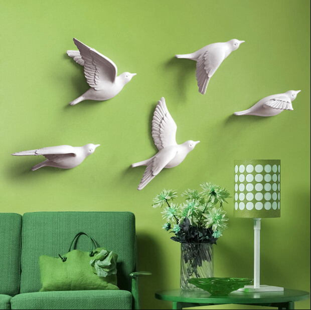 2015 European 3d Resin Bird Wall Stickers Home Furnishing