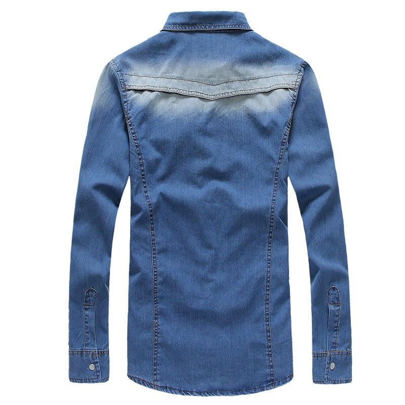 Streetwear Washed Long Sleeve Solid Autumn Hip-hop Denim Fashion Shirts Slim Fit Casual MWC Cowboy cloth MOOWNUC Summer Men Blue