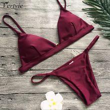Vertvie Women Micro Bikini Set Swimwear Solid Beach Bathing Suit Brazilian Thong Swimsuit For Girls Swim Femme 2019