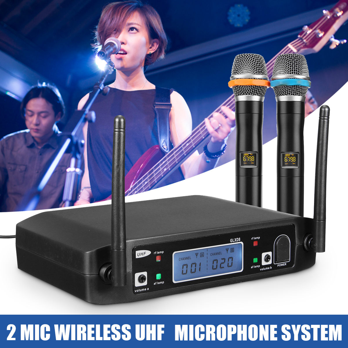 Karaoke Wireless 2 Channel Bluetooth Microphone Digital Dual Receiver with UHF Receiver LCD Display Wireless Microphones Stand excelvan k38 dual wireless microphones with receiver box various frequency high end microphonfor home entertainment conference