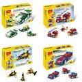 DIY bloques de construcción de Plástico 3in1 set Mini Sport car/Fuego/Avión/reductor de velocidad/racer Niños Ladrillos juguetes Para Niños compatibles lepin