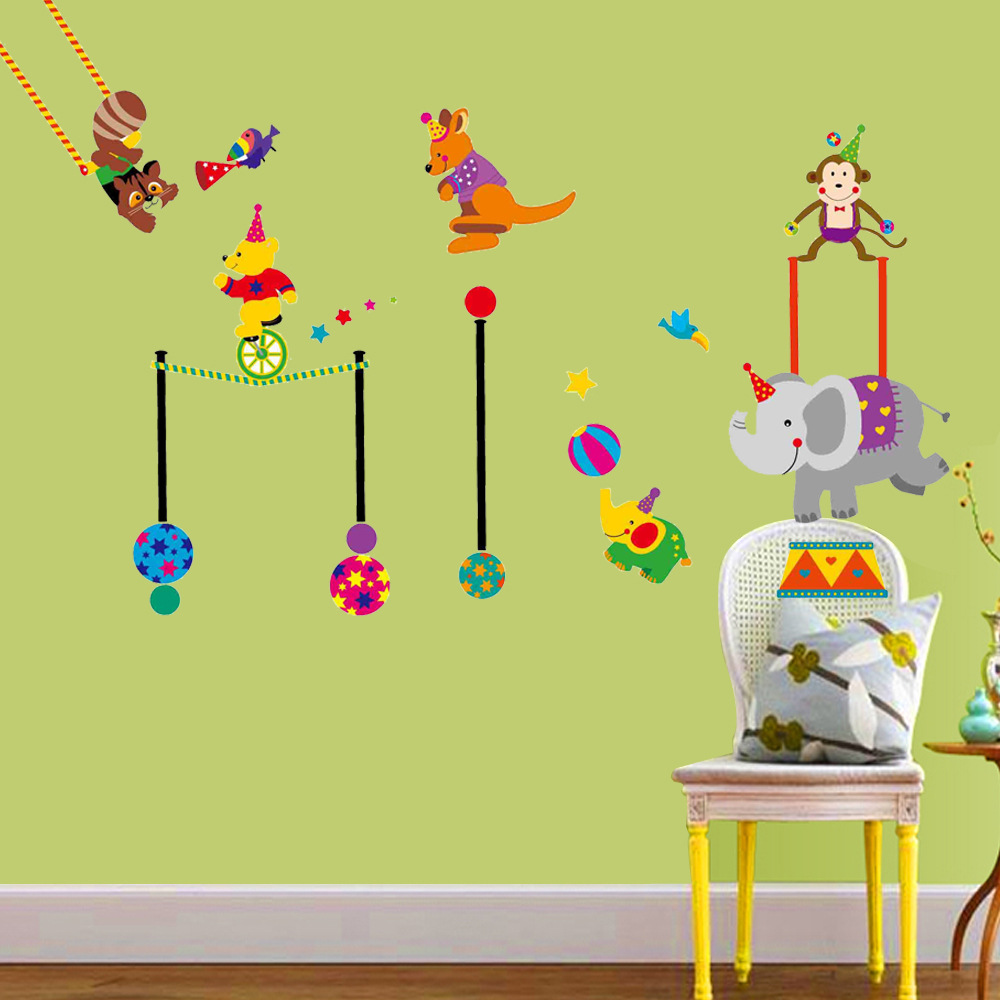 high quality wallpaper baby animals buy cheap wallpaper baby cartoon animals circus wall sticker for kids babies infant room funny circus show wall decals home