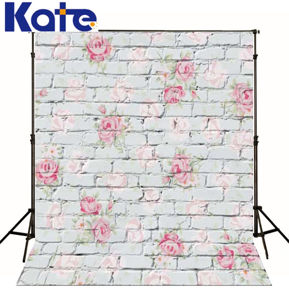 Kate  Digital Printing Photo Studio Backdrop Retro Brick Wall Pink Flowers For Newborn Child Photography Background