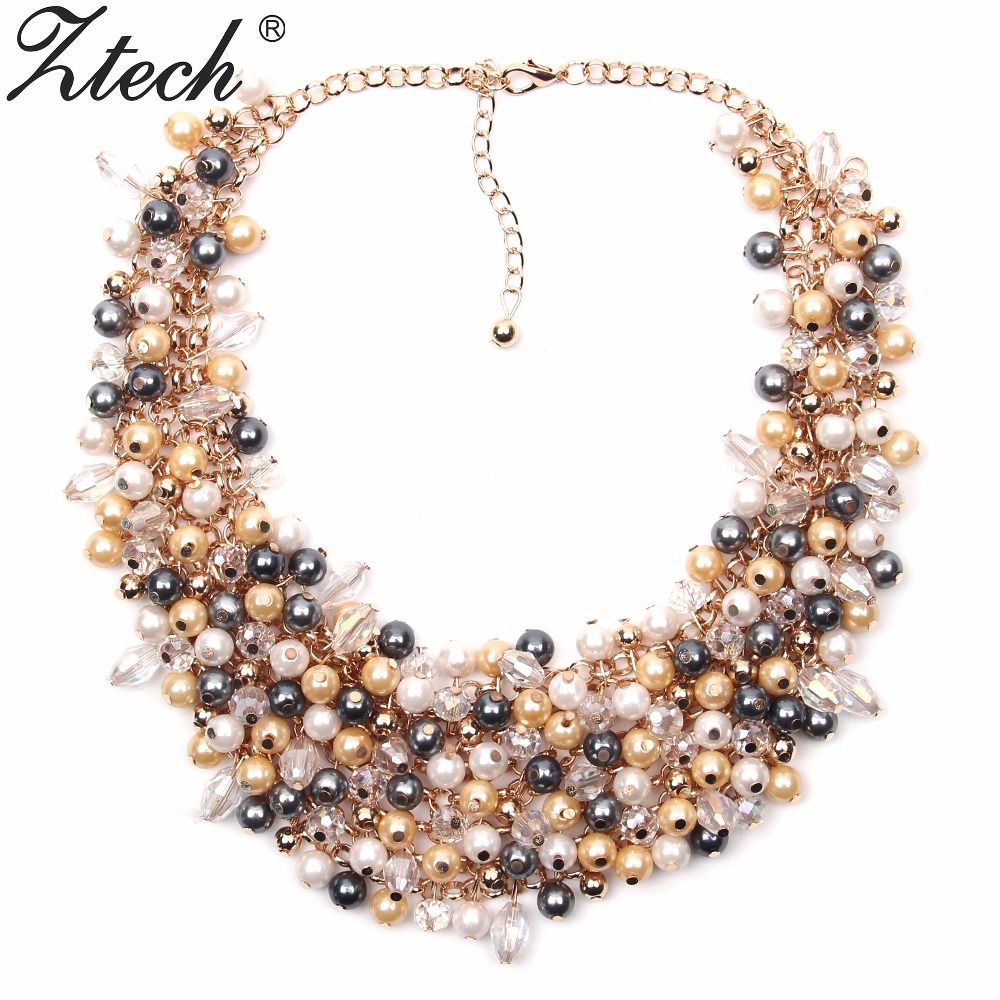 Ztech Jewelry European & American Big Temperament Popular Trendy Palace Beauty simulated pearl Necklace Statement necklace
