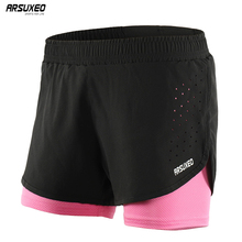 ARSUXEO 2019 Women Running Shorts 2 in 1 Outdoor Sports Fitness Gym  Training Running Tights Femme Quick Dry Marathon 1101 arsuxeo 2 in 1 marathon running shorts men breathable quick dry training fitness athletic gym sports shorts with zipper pocket