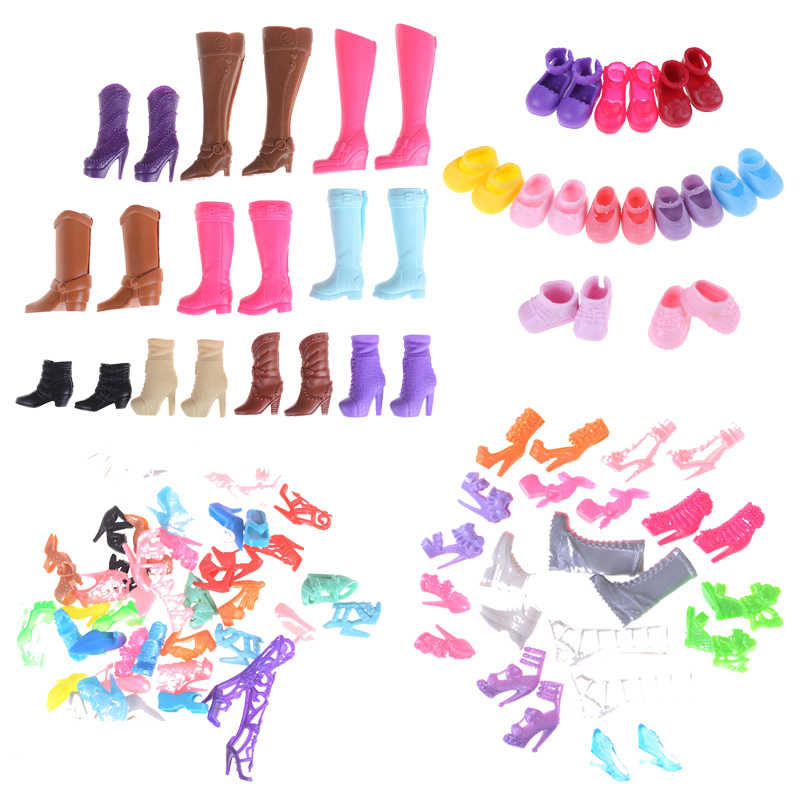 1/5/10/20Pair Mixed Style Fashion Colorful Boot Assorted Casual High Heel Long Barrel Cute Shoe Clothes For Doll Accessories Toy