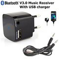 Wireless Bluetooth 3.5mm Audio Music Stereo A2DP Receiver Portable Adapter USB Wall Charger Travel EU Plug for iPhone Samsung