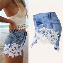 NiceMix 2019 summer hot shorts lace denim women pockets high waist ripped white womens jean plus size