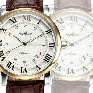 Image 3 - Rome numéro mode hommes gagnant haut marque or Sport montres auto vent automatique calendrier mécanique en cuir montre horloge