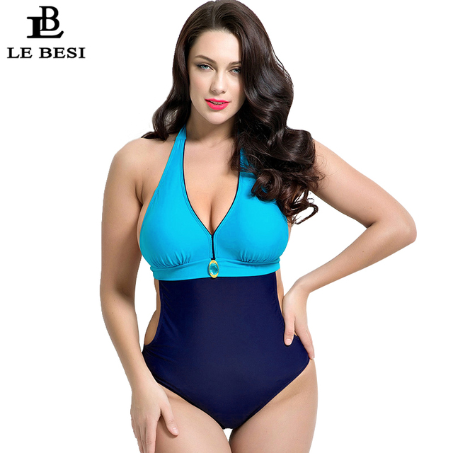 9098dbac6cc LEBESI 2017 One Piece Swimsuit Contrast Color Swimwear Women Underwire Push  Up Monikini Halter Top Bathing Suit Plus Size 5XL
