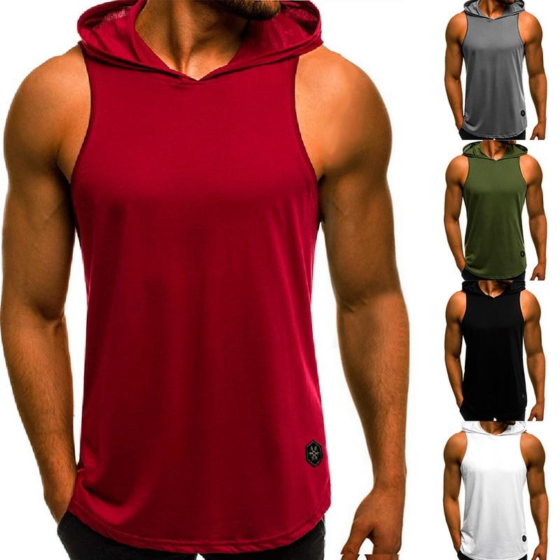 HEFLASHOR  Men Fitness Hoodies Tank Tops Sleeveless Bodybuilding Tee Shirt Fashion Stringer Male Workout Hooded Vests Sportswear