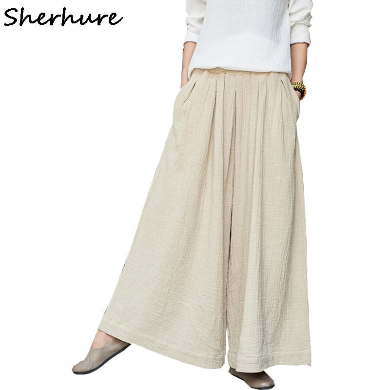 Sherhure 2018 Women   Pants   Loose High Waist Women Cotton And Linen   Pants   Female Trousers Casual Women   Wide     Leg     Pants