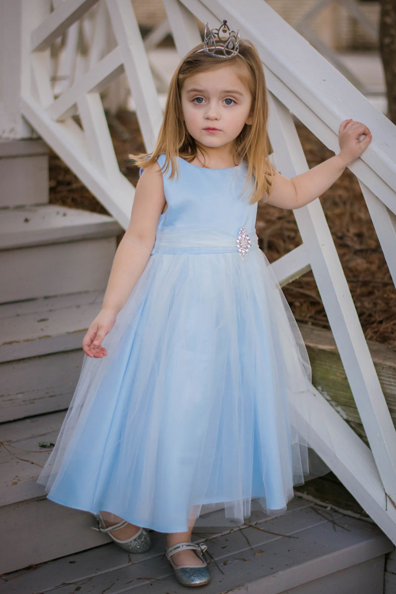 Simple Blue A Line Flower Girl Dress For Weddings with Sheer Belt ...