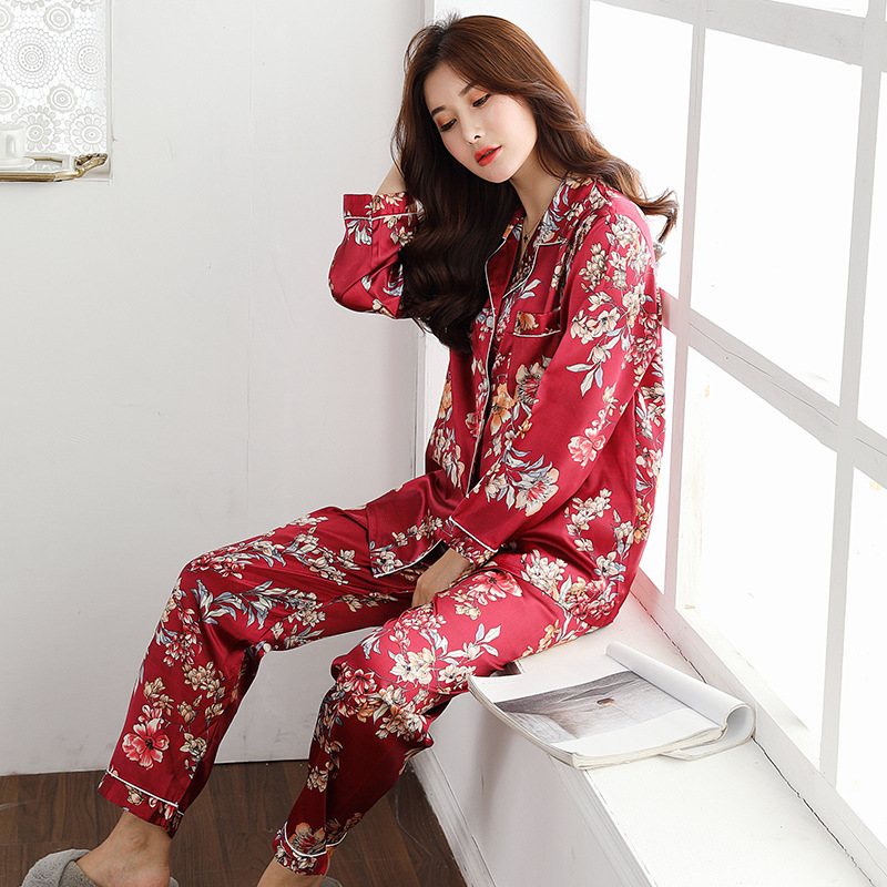 Image 5 - QWEEK Womens Satin Pajama Two Piece Autumn Long Sleeve Women Nightwear Set Cardigan Plus Size Sleepwear Print Loungewear Women-in Pajama Sets from Underwear & Sleepwears