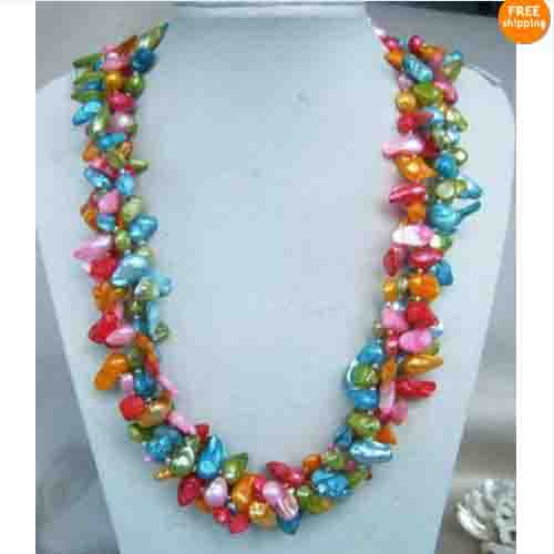 Unique Pearls jewellery Store Multi Strand Necklace Multicolor Genuine Freshwater Pearl Necklace 50cm Magnet Clasp FN504Unique Pearls jewellery Store Multi Strand Necklace Multicolor Genuine Freshwater Pearl Necklace 50cm Magnet Clasp FN504