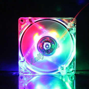 200 Pieces Lot 80mm  80x80x25mm 8025s PC Computer White Case 8cm12V 4Pin Colorful LED Light  DC Cooling Fan