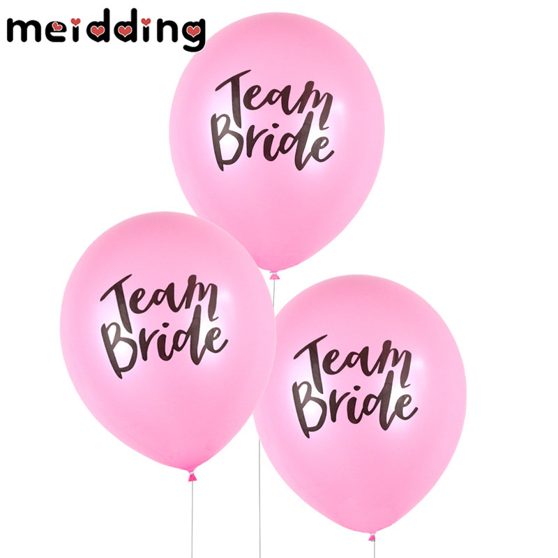 MEIDDING 10pcs Mr Mrs Just Married Team Bride Round Latex Balloon Valentines Day Wedding Bachelorette Party Decor Supplies