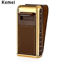 KEMEI 2 in 1 Electric Rechargeable Men Shaver Razor Vintage Leather Wrapped Reciprocating Shaver Beard Trimmer Electric Shavers