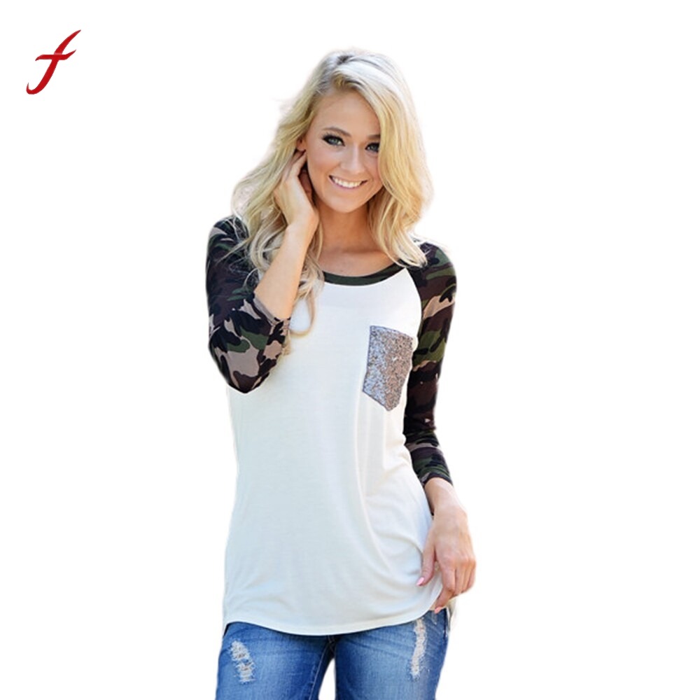 tee shirt femme t shirt women t shirt camouflage printed long sleeve tshirt woman womens tops. Black Bedroom Furniture Sets. Home Design Ideas