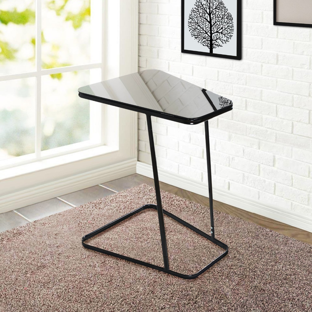 Lifewit End Table Side Snack Coffee Sofa Table Modern Tempered Glass carbon Steel Living bed Room Home Furniture, Black modern minimalist european storage coffee table stainless steel coffee table multi function coffee table